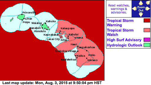 Tropical Storm Watch August 3rd For Maui County